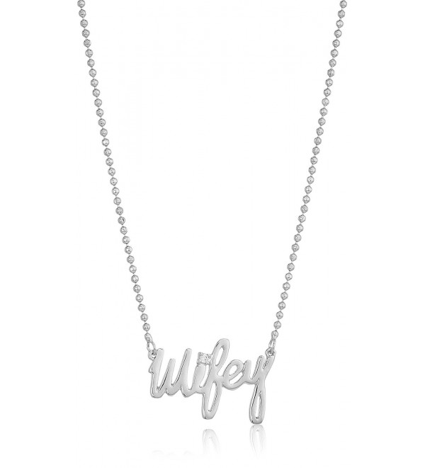 "betsey johnson ""betsey blue"" cubic zirconia stone wifey silver pendant necklace - CY185A0WG6E"