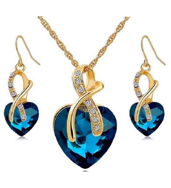 Large Heart Necklace & Drop Earrings Crystal Jewellery Set - IWTB - Blue - C71862W23UU