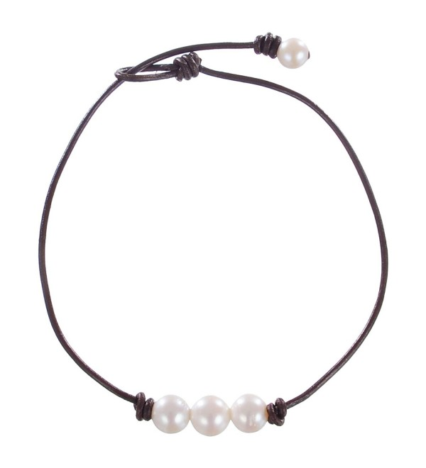 Areke Cultured Freshwater Pearl Choker Necklaces for Women - 3 Beads On Leather Cord Handmade Jewelry - CR12OBHKCBC