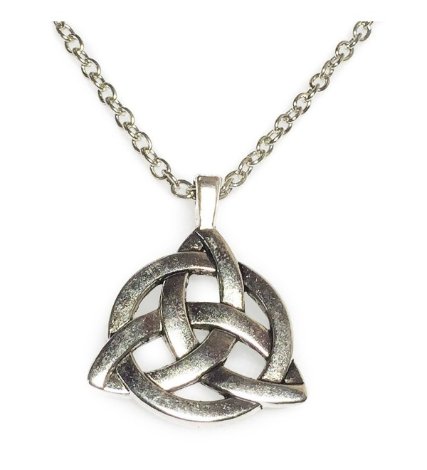 Celtic Triangle Knot Silver Tone Pendant Necklace - CA11Z1VHJB3