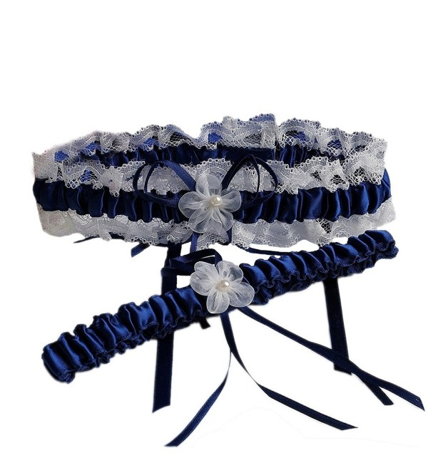 Bingirl Lace Floral Plicate Wedding Bridals Satin Garter Set of 2 Pieces with Bowknot - dark blue - CT12NBU8FWV