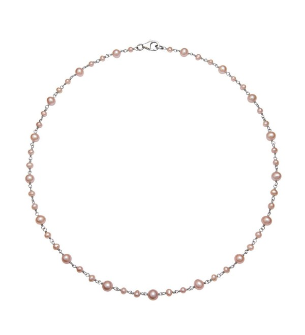 "Sterling Silver 3-5.5mm Cultured Freshwater Pearl Station Chain Necklace- 18"" - Pink - CA122TIAB73"