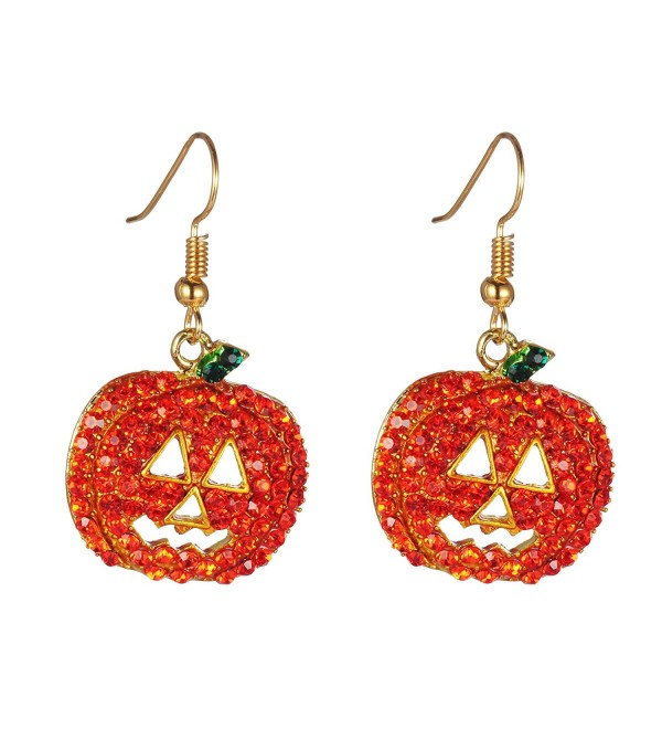 Halloween Pumpkin Earrings Red Hypoallergenic - CL12MJMIKFP