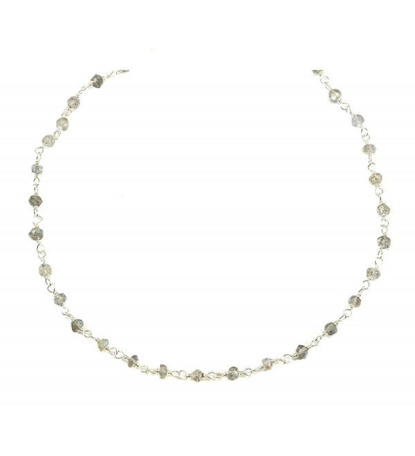 """Sterling Silver Labradorite Necklace Blue Green Flash Faceted Stones On Silvertone Chain Link 18"""" - CZ11BVYVMDP"""