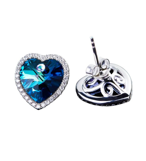 Blue Swarovski Crystal Halo heart Stud Earrings - CZ182K4XXTN