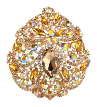 EVER FAITH Women's Austrian Crystal Elegant Flower Teardrop Pendant Brooch - Gold-Tone Yellow - CB11BGDLN2B