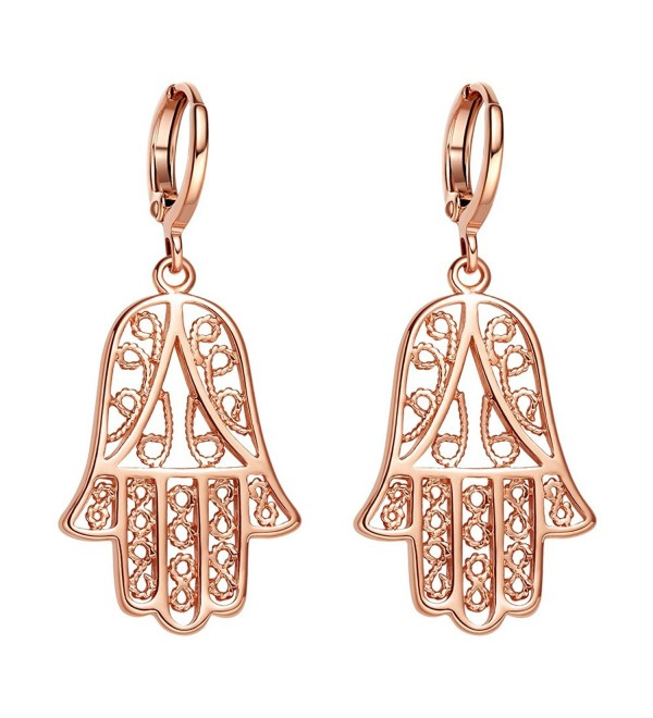 Beautiful and Cute Evil Eye Protection Reflection Hamsa Hand Amulets Gold-Tone Filigree Style Earrings - CF12N84S7CA