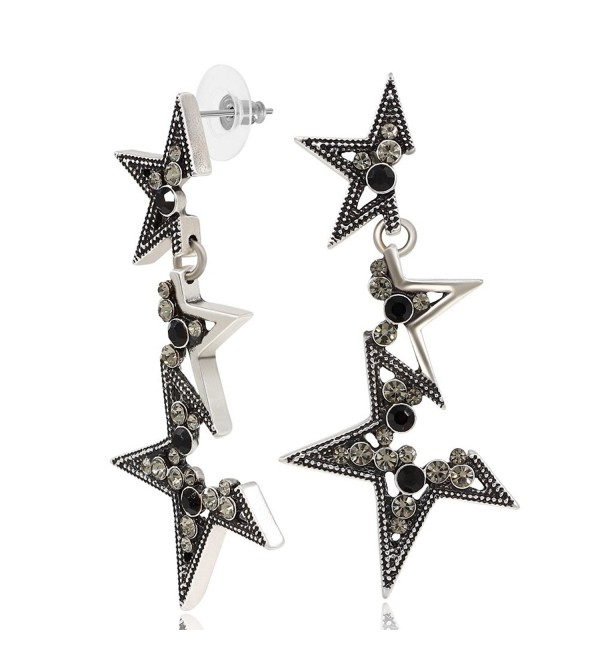 Kemstone Crystal Elements Fragmentary Star Dangle Earrings for Women Jewelry - Black - CZ183CI2264