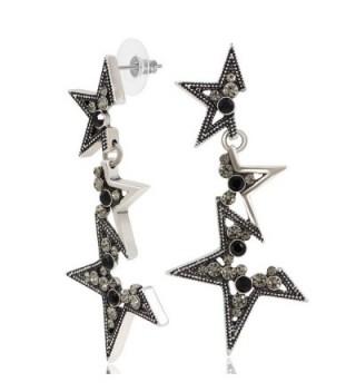 Kemstone Crystal Elements Fragmentary Star Dangle Earrings for Women Jewelry - Black - CZ183CI2264