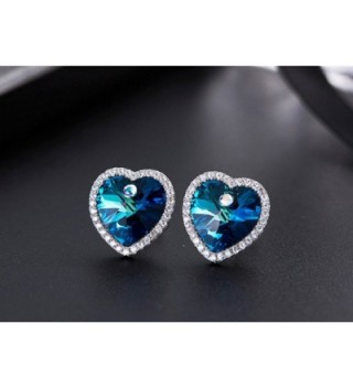Blue Swarovski Crystal heart Earrings in Women's Stud Earrings