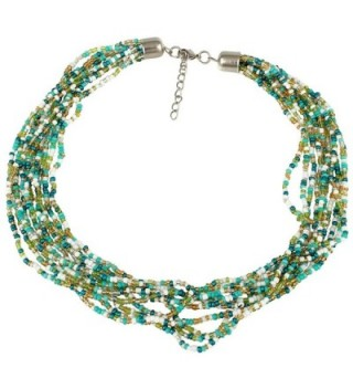 Casual Attire Multi Strand Seed Bead Necklace - Green-Gold - CY127QZMNNP