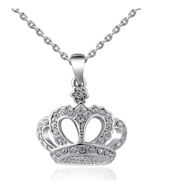 AROUND 101 Swarovski Elements You Are My Queen Crown Diamond Pendant Necklace - C012FJ1Q31L