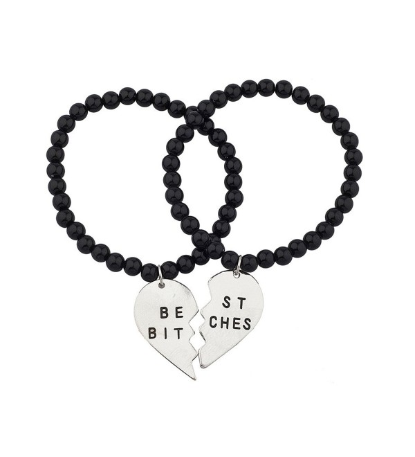Lux Accessories Black Beaded Best Bitches BFF Best Friends Matching Bracelet Set - Silver - CJ120RWU33B