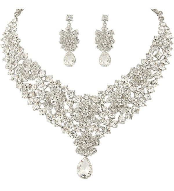 EVER FAITH Women's Austrian Crystal Elegant Orchid Flower Teardrop Jewelry Set - Clear Silver-Tone - CZ11X4G5X4R
