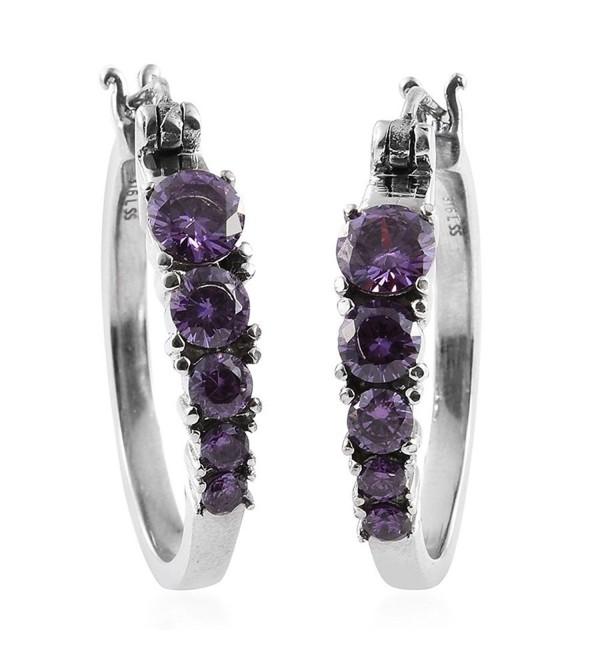 Purple Cubic Zirconia Stainless Steel Hoop Earrings TGW 5.860 Ct - CJ183M3K4XZ