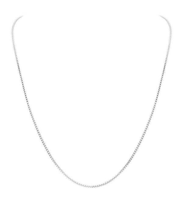 "Gem Avenue 925 Sterling Silver 1mm Sturdy Box Link Chain Necklace (14"" - 30"" Available) - CM1117IC5YZ"