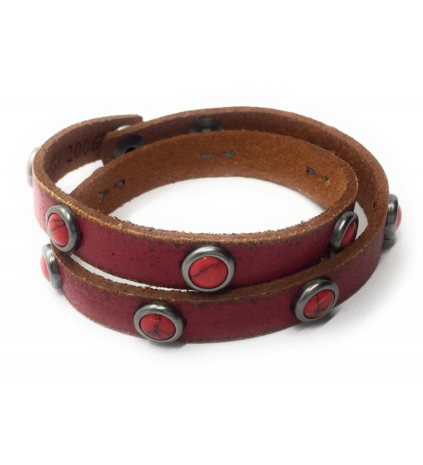 Most Wanted Slim Double Wrap Leather Bold Rivet Bracelet - Red - C912O6UIX5B