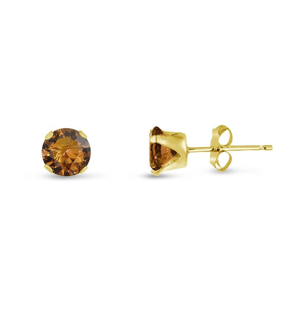 Round 4mm Coffee Brown CZ Stud Earrings (0.86 cttw) Sterling Silver- 14k Yellow or Rose Goldplate - CU11KKCGU9Z