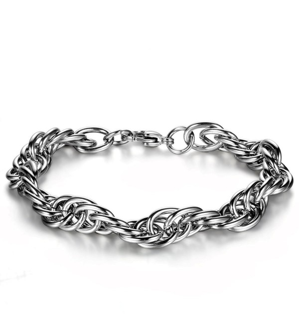 Flongo Men's Womens Stainless Steel Buckle Chain Link Bracelet- Fit 7-8 inch Wrist - CX11RLE0Q8B