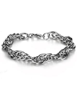 Flongo Men's Womens Stainless Steel Buckle Chain Link Bracelet- Fit 7-8 inch Wrist - CX11RLE0Q8B