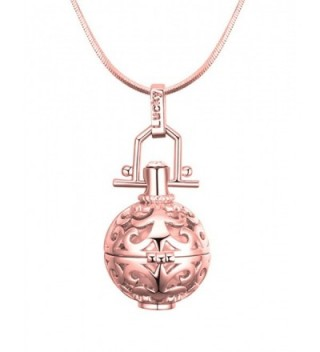 Dahlia Women's Pendant Necklace - Simulated Pearl Ball Cage - Rose Gold - CZ11Y5PMNSP