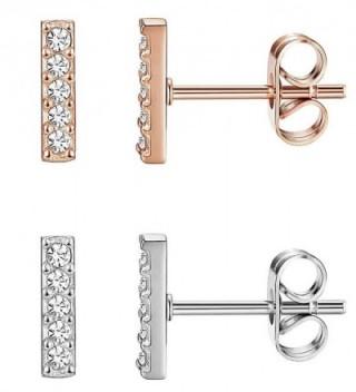 JOERICA 2-3 Pairs Stainless Steel Stick Stud Earrings for Women Cubiod Bar Stud Earrings CZ Inlaid - C4188IXWQR0