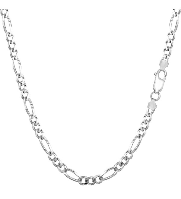 Sterling Silver Rhodium Plated Figaro Chain Necklace- 3.0mm - CV1150Z0AFV