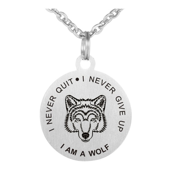 Never Give Up Never Quit Wolf Pendant Stainless Steel dog tag Necklace - C7187Q967M3