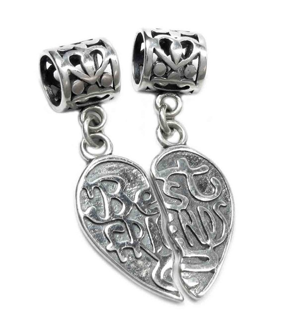 Sterling Silver Best Friend Forever Together Apart Heart Dangle European Bead Charm - CM11CH5OH11