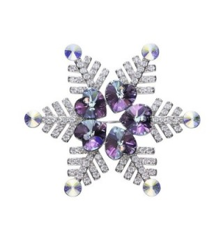 Large Snow Flower Christmas Brooches Pin For Women Made With Swarovski Element Crystals - CZ187G393L0