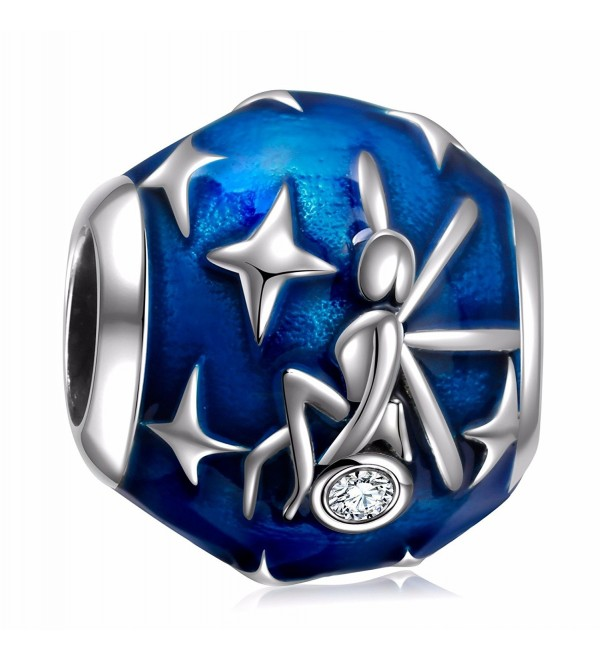 925 Sterling Silver Blue Enamel Fairy Star Vintage Charms Bead for European Charm Bracelet - CH186XS6AA7