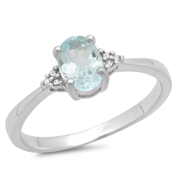 1.13 Carat (ctw) Sterling Silver Oval Blue Topaz & Round Diamond Accents Bridal Promise Engagement Ring - CN11SGCBRAH