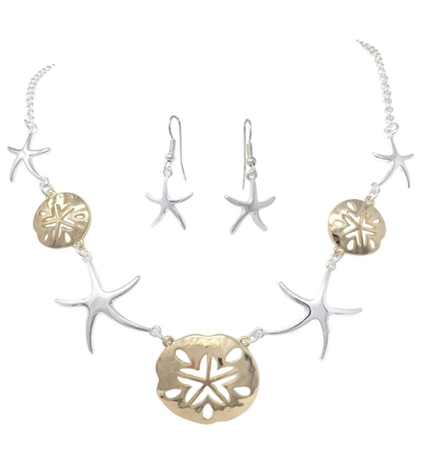 Sand Dollars & Starfish Simple Sealife Nautical Boutique Statement Necklace & Earrings Set - C3184CRATYI