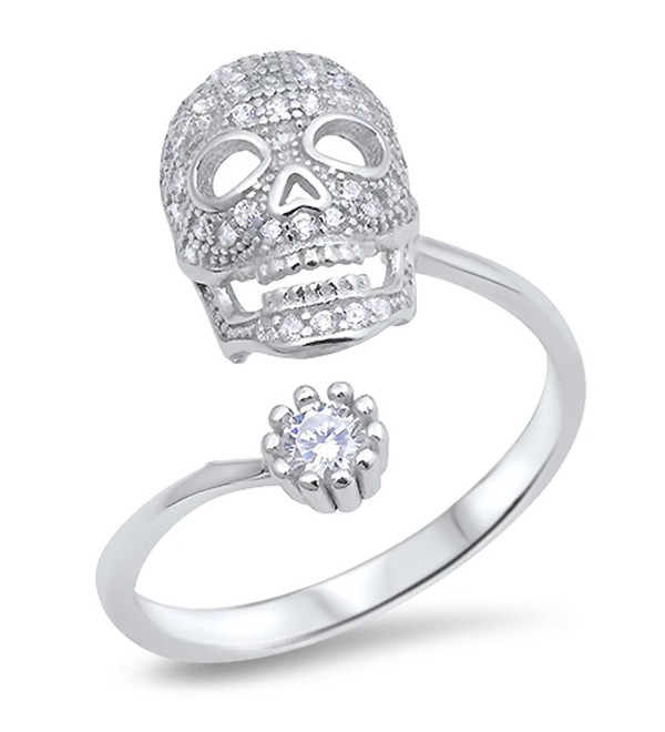 CHOOSE YOUR COLOR Sterling Silver Open Skull Biker Ring - White Simulated Cubic Zirconia - CB12JPCLDNN