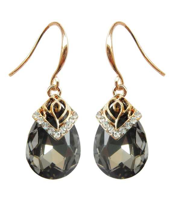 Navachi 18k Gold Plated Crystal Water Drop Gray Zircon Dangle Earrings for Women - C711T9JNTHB