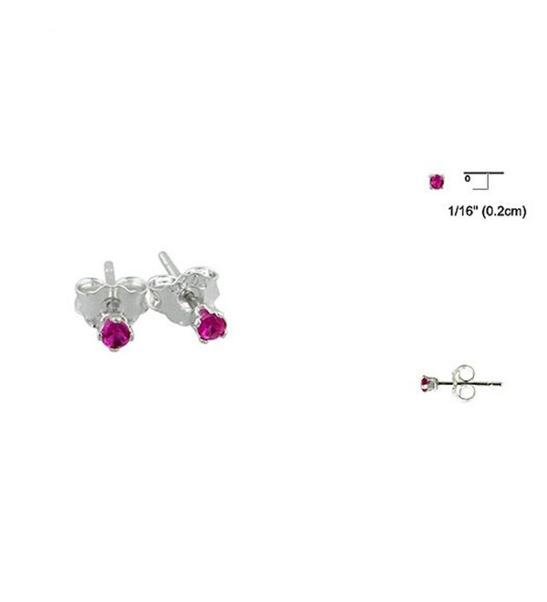 2MM Simulated Round Ruby CZ Tiny 925 Sterling Silver Stud Earrings - C212FA78ISJ