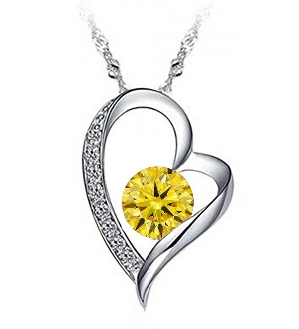 "Tyjewelry 14k Gold Plated Silver Heart Pendant Necklace for Womens (White-purple-red-pink-18"") - Yellow - CS12O7DJ525"