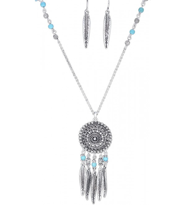 "Rain 29"" Oxidized Silver-Plated Dreamcatcher Pendant Necklace & Fish Hook Earrings Set - CH12IG728BT"