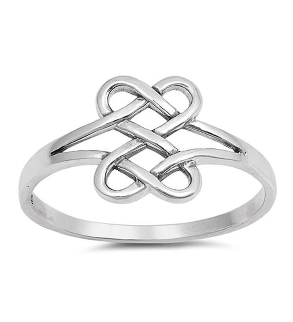 CHOOSE YOUR COLOR Sterling Silver Celtic Infinity Heart Knot Ring - CA18345KSXQ