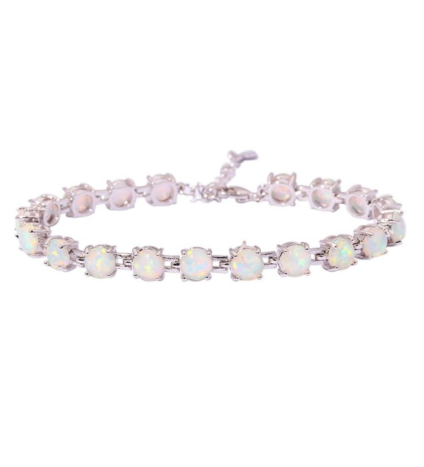 "CiNily Rhodium Plated Created White Fire Opal Women Jewelry Gemstone Bracelet 7""-8 1/2"" - C212NFHBFEQ"