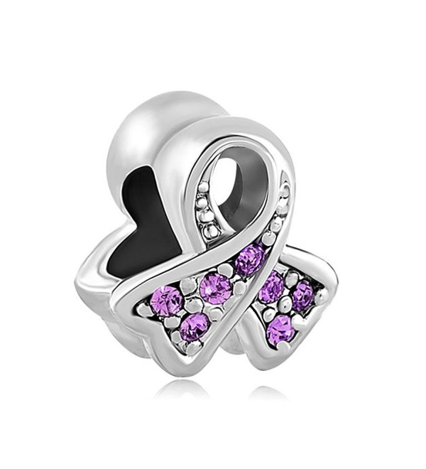 CharmsStory Sterling Silver Purple Synthetic Birthstone Ribbon Breast Cancer Awareness Charm For Bracelets - CJ129IM4IH3