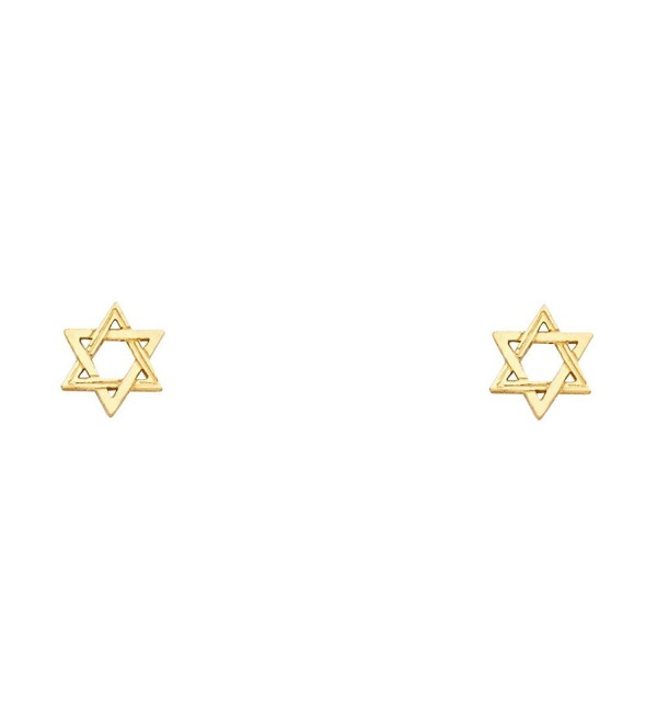 14k Yellow Gold Jewish Star Stud Earrings Star Of David Post Studs Diamond Cut Small 6 x 6 mm - CB185AUHUZY