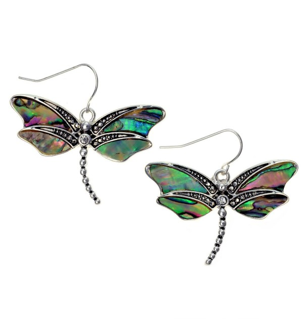 Abalone Dragonfly Earrings Silvertone Paua Shell by PammyJ - C011680EA5X