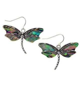 Abalone Dragonfly Earrings Silvertone Paua Shell by PammyJ - C011680EA5X