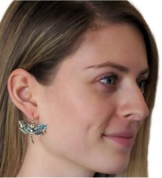 Abalone Dragonfly Earrings Silvertone PammyJ