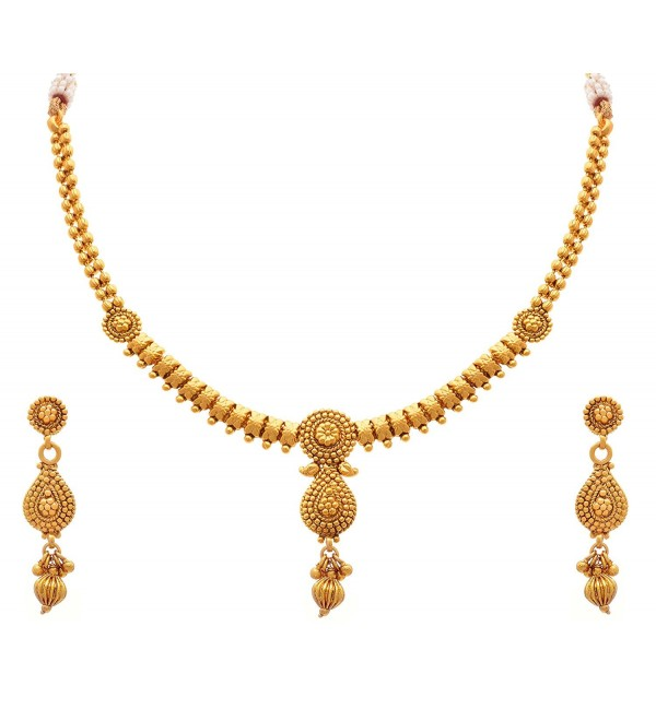 JFL - Traditional Ethnic One Gram Gold Plated Designer Necklace Set with Earring for Girls and Women - C412N4SAAKP