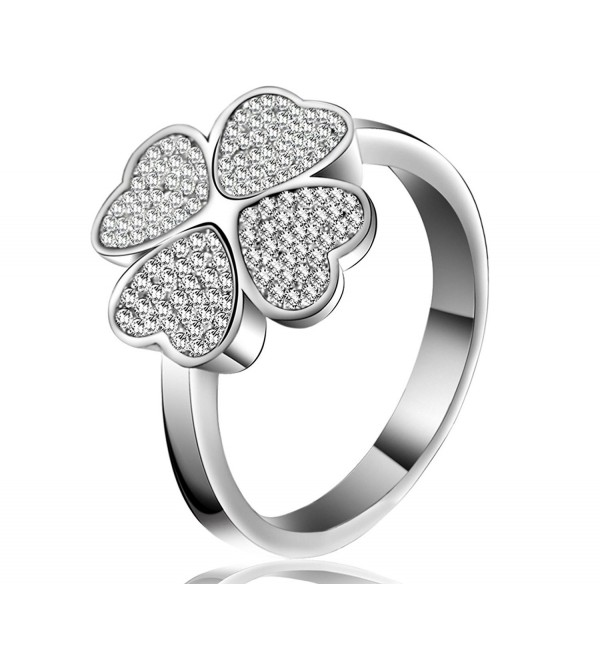 Lucky Dora Platinum Plated Four-leaf Clover Silvery Band Rings with Cubic Zirconia- Size 5 to 10 - CM188H9M856