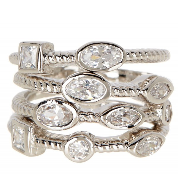 Silver Clad CZ Wholesale Gemstone Jewelry Stackable Ring Set - CL184Q6G545