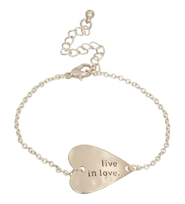 Heirloom Finds Live in Love Sideways Heart Bracelet in Matte Gold Tone - CN11EHX98GZ
