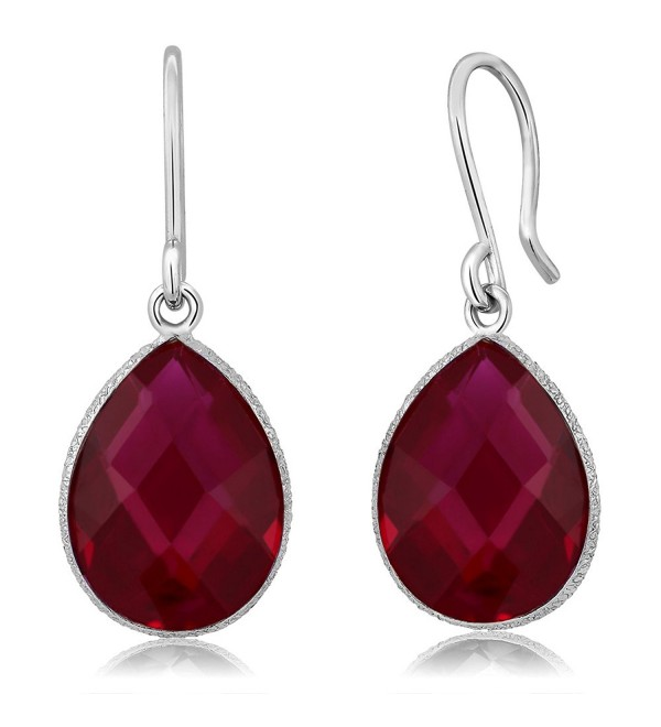 12.00 Ct Created Red Ruby 16x12mm Pear Shape 925 Silver Dangle Earring - C711AEBDKCB